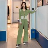 出清388 韓國風休閒顯瘦寬口褲套裝長袖褲裝
