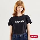 Levis 女款 短袖T恤 / 高密度立體膠印復古Logo / 黑