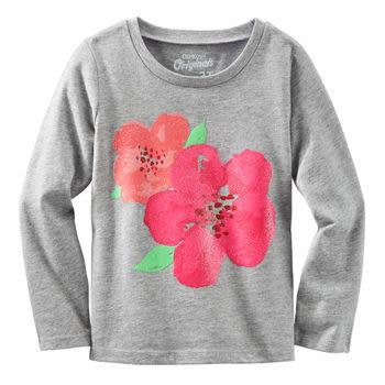 OshKosh長袖上衣 花朵圖案灰色設計款T恤 4T (Final sale)