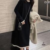針織連身裙女秋冬內搭過膝中長款打底毛衣裙【愛物及屋】