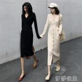 毛衣中長裙 修身針織洋裝女秋冬中長款過膝長裙減齡氣質顯瘦內搭打底毛衣裙