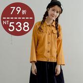 外套   銅釦短版棉質外套    四色-小C館日系