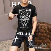 兩件套裝歐美潮流街舞嘻哈青年短袖T恤男寬鬆五分褲