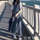 春款女洋裝韓版寬鬆純色口袋工裝長裙高腰背...