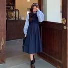 假兩件連身裙 秋季2020新款韓版氣質顯瘦收腰中長款裙子復古假兩件長袖連身裙女 萬聖節狂歡