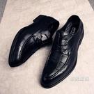 皮鞋 黑色尖頭皮鞋男士商務正裝青年英倫夜場男鞋正韓流休閒尖頭鞋子
