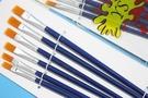 藍桿水彩筆 黃毛(中號/平頭中~小共6支入)/一組入{定45}~3734