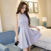 洋裝 名媛氣質高腰無袖性感掛脖連身裙蓬蓬裙