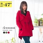 防風外套--時尚保暖立領連帽開衩口袋收腰拉鍊風衣外套(黑.紅.綠S-3L)-J266眼圈熊中大尺碼