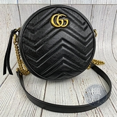 BRAND楓月 GUCCI 古馳 550154 黑色 皺褶皮 金鍊 MARMONT 圓餅包 側背包 鍊包