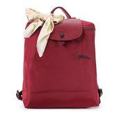Longchamp 1699 LE PLIAGE 奔馬刺繡折疊尼龍後背包(石榴紅-含帕巾)480210-C87