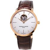 CONSTANT 康斯登 SLIMLINE超薄系列機械錶-玫瑰金框x咖啡/40mm FC-312V4S4