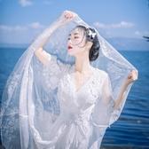蕾絲長裙 白色露背喇叭袖蕾絲連衣裙大擺海邊漏背沙灘仙女拍照婚紗長裙【限時八五鉅惠】