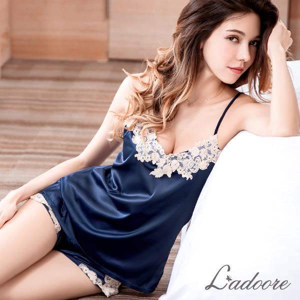 睡衣 Ladoore 花語翩飛 第二代質感升級絲緞蕾絲家居服(藍)