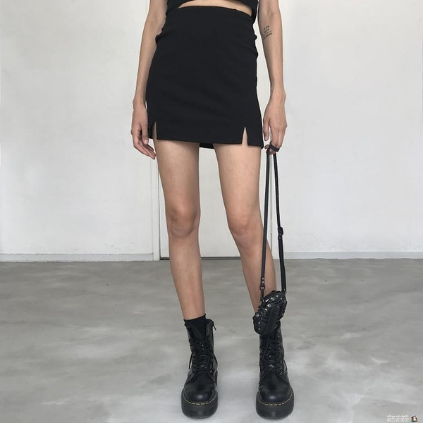 WS STUDIOS歐美性感高腰修身款兩側小開叉A字包臀半身短裙842 魔方