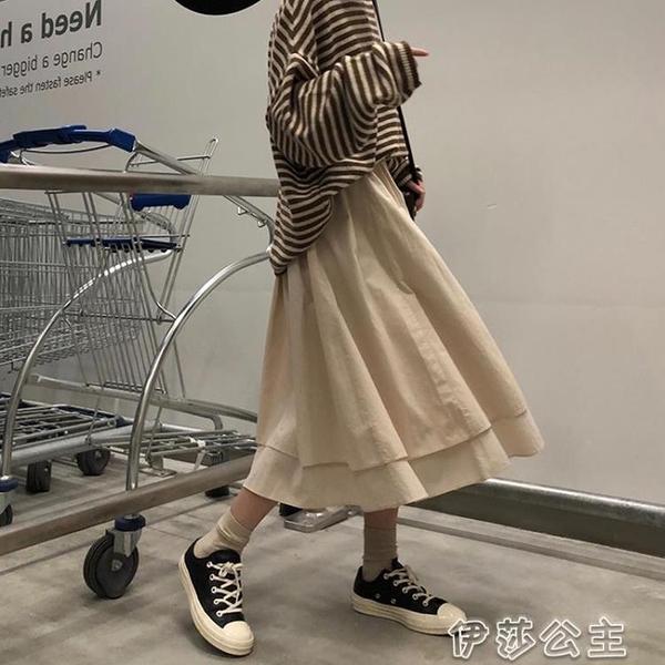 半身長裙 日系工裝裙女秋冬新款百搭高腰a字半身裙學生復古寬鬆不規則長裙 伊莎公主