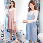 孕婦裝 MIMI別走【P52943】恬淡氣質 假兩件綁帶連身裙 洋裝 孕婦裙
