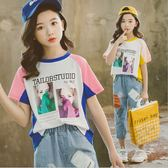 衣童趣♥韓版中大女童 拼色T恤 短袖上衣 字母七分褲 牛仔七分褲 夏日套裝
