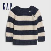 Gap嬰兒 時尚條紋圓領長袖針織衫 592862-海軍藍條紋