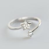 戒指 925純銀 鑲鑽-風格星星生日情人節禮物女開口戒73dt287【時尚巴黎】