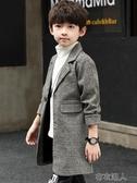 兒童外套 男童西裝外套春秋新款中大兒童休閒風衣寶寶韓版中長款大衣潮 遇見初晴