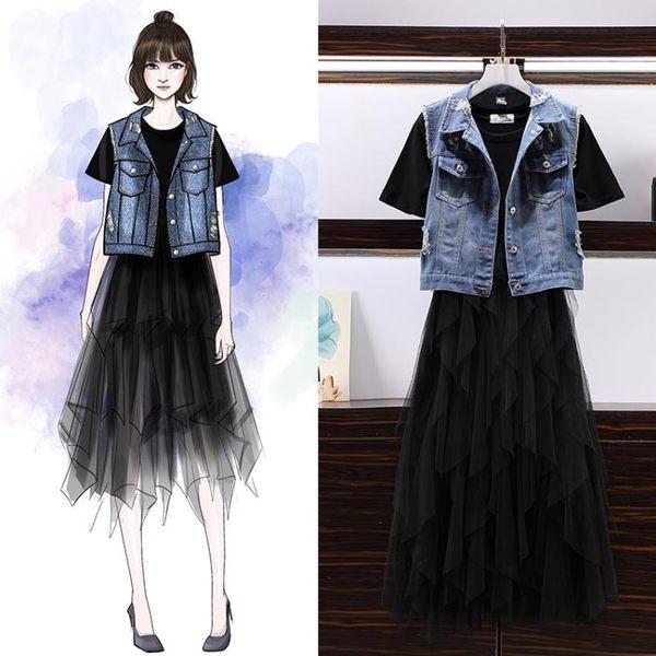 胖妹妹夏特大碼女裝 牛仔心機連身裙 兩件套洋裝 超值價