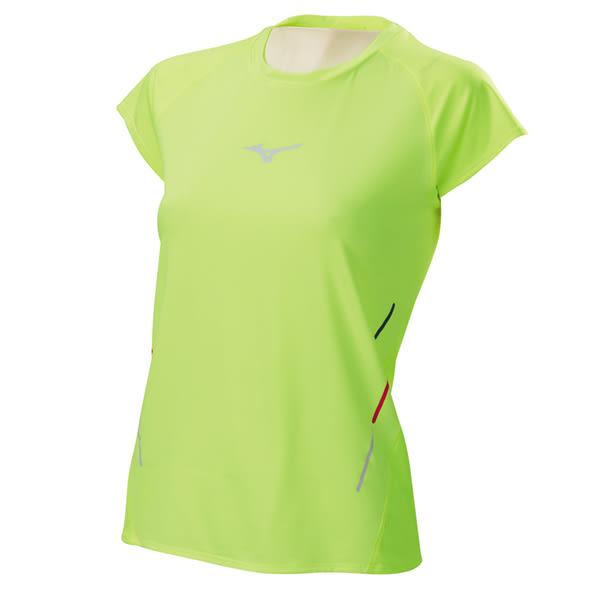 Mizuno  女路跑短袖T恤-螢光黃 J2TA620544