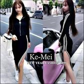 克妹Ke-Mei【ZT42813】歐美時尚STYLE 側雙槓黑白撞色拉鍊外套+開叉中長裙套裝