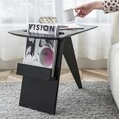 北歐實木沙發邊几輕奢創意窄小茶几桌現代簡約客廳角几書報雜志架 全館新品85折