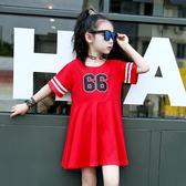 新款童裝女童連身裙夏季中大童休閒短袖裙子