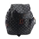 【奢華時尚】LV 限量款-黑底白色字紋帆布DISCOVERY男用後背包(九成新)#24651