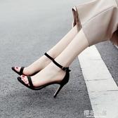 一字帶扣涼鞋女2019夏季新款高跟鞋細跟韓版學生黑色百搭細帶3233『櫻花小屋』