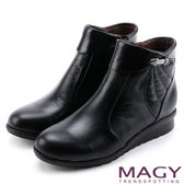 MAGY 經典復古樂活 牛皮側邊縫線厚底短靴-黑色