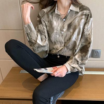 長袖襯衫 上衣秋季新款木紋花長袖氣質襯衫女港風百搭顯瘦上衣服 3640 N502 韓依紡