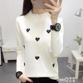新款秋冬裝白色長袖t恤女裝寬鬆韓版韓范學生半袖體恤上衣潮  【PINK Q】