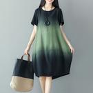 文藝洋裝 夏季新款亞麻裙子文藝複古拼接撞色寬鬆大碼中長款棉麻短袖洋裝