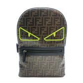 【台中米蘭站】全新品 FENDI 釉面緹花 FF logo 螢光眼後背包(8BZ040-咖)