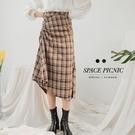 長裙 Space Picnic|格紋抓皺設計開岔長裙(現貨)【C19123040】