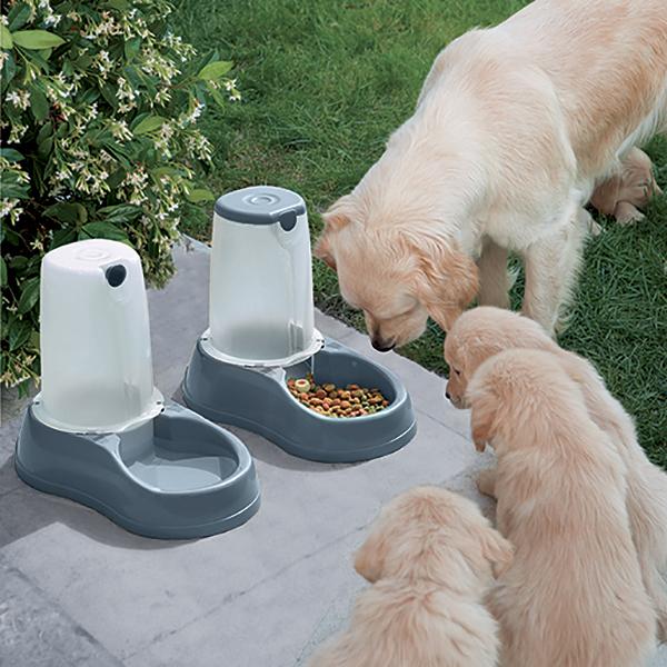 寵物家族-Stefanplast樂透-飼料餵食器3.5L (灰藍/暗粉)