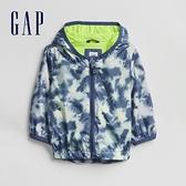 Gap嬰兒 時尚紮染印花連帽外套 671591-藍色迷彩