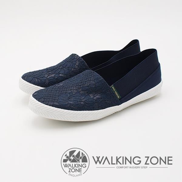 【南紡購物中心】WALKING ZONE 優雅蕾絲懶人帆布鞋 女鞋-深藍(另有白)