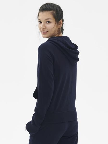 Gap 女裝 休閒長袖拉鏈連帽衫 495417-海軍藍色