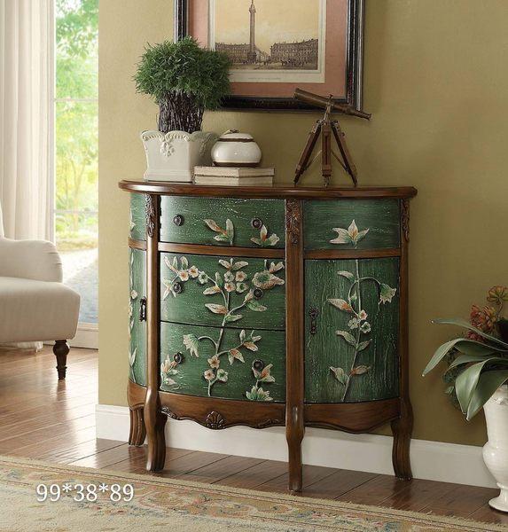 中華批發網:HD-DT-3105-G英式古典-麥隆彩繪半圓玄關櫃-綠