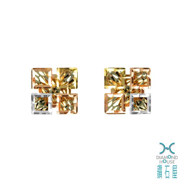 【鑽石屋】方形K金耳環