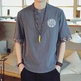 亞麻短袖男t恤夏季薄寬鬆大碼五分半袖潮流中國風刺繡棉麻上衣服 果果生活館