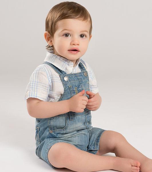 吊帶褲 小童/大童 DaveBella 金屬扣吊帶短褲 / 吊帶褲 - 牛仔藍 DB5007