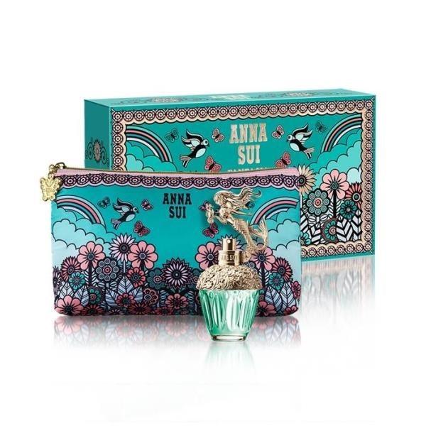 【南紡購物中心】ANNA SUI 美人魚童話禮盒 (淡香水30ml+愛情鳥化妝包)