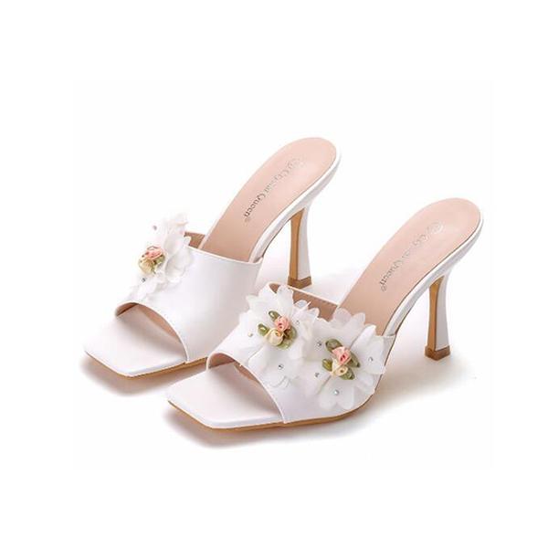 【Sp house】典雅美型花朵蕾絲方頭細高跟拖鞋(白色)