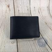 BRAND楓月 LOUIS VUITTON LV M61825 深藍 EPI 二折 短夾 皮夾 錢包