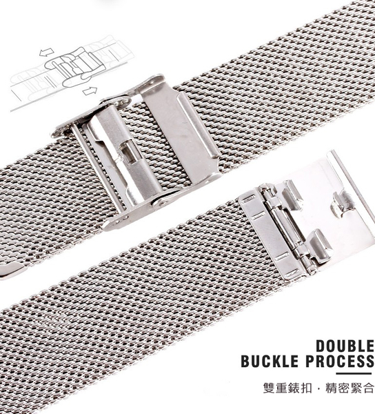 20mm錶帶 不銹鋼 不鏽鋼錶帶 米蘭風細網編織 防水防汗 IP黑電鍍 時間玩家 B20-0721黑